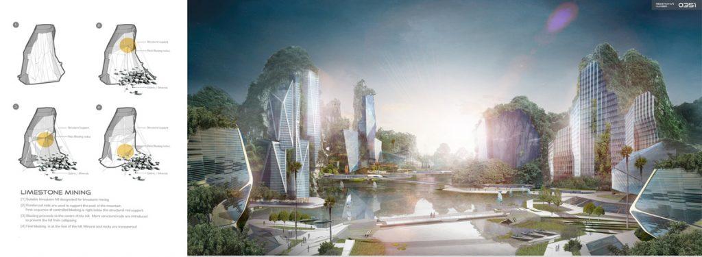 """Ecotecnorgánico Limestone Skyscrapers"""" 2015 de Jethro Koi Lik Wai, Quah Zheng Wei"""