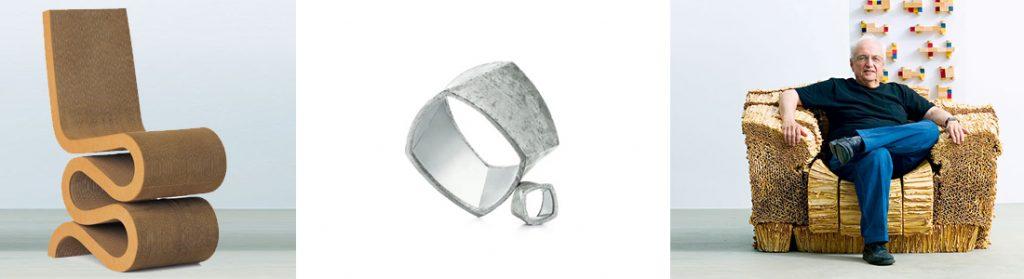 Frank Gehry Arquitecto - mobiliario de cartón y anillo de hormigón